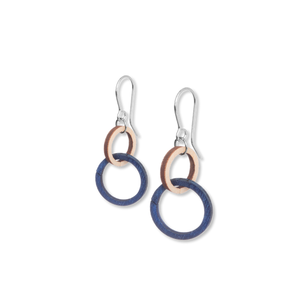Valona Mini Halo Birch Earrings, Natural/Blue