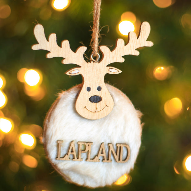 Lapland Reindeer Wooden Ornament