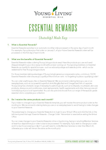 Young Living Essential Oils | Essential Rewards | Wear Kids Play Nelson Bay