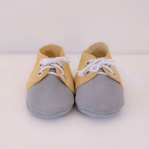 Tan & Grey Lace Up Moccasin