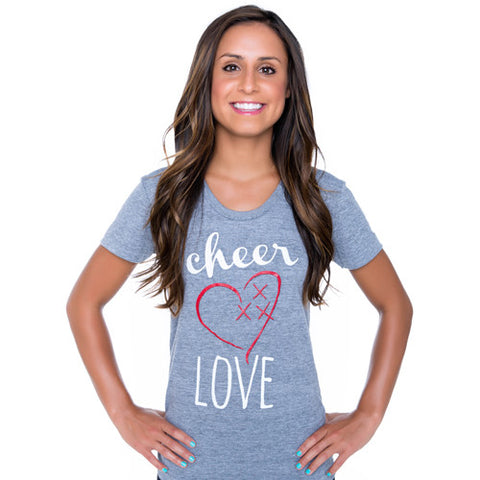 Cheer Love Glitter Heart Tee