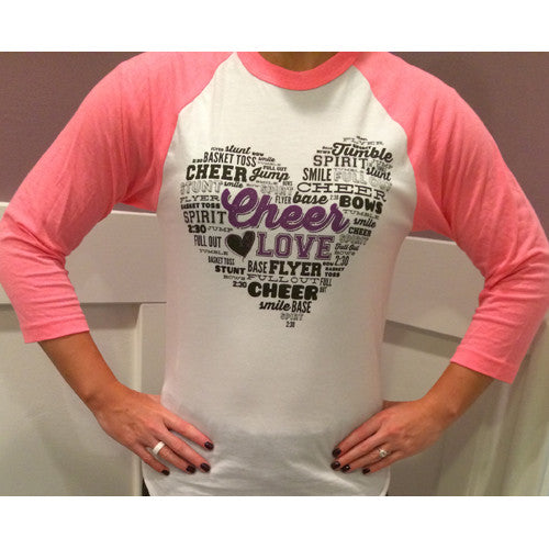 Cheer Love Heart Words Baseball Tee