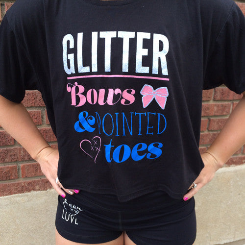 Cheer Love Glitter Bows and Pointed Toes T
