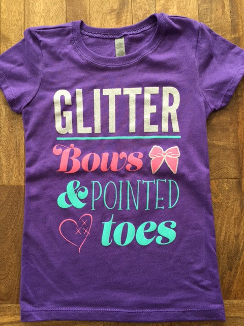 cheer love glitter bows and pointed toes t shirt purple cheer