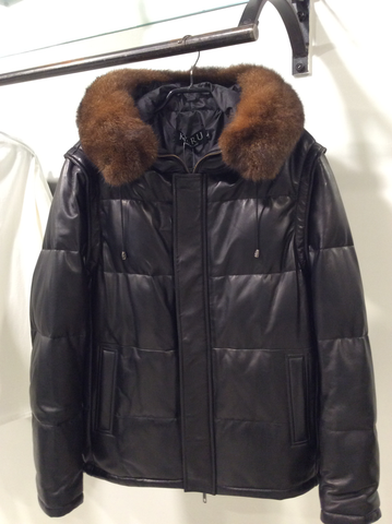 Mens Fur Trim Hooded Leather Jacket
