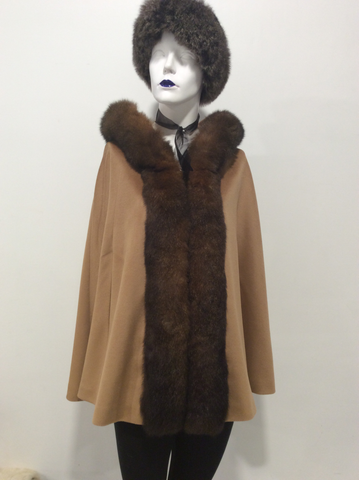 Hooded Fur Trim Cape