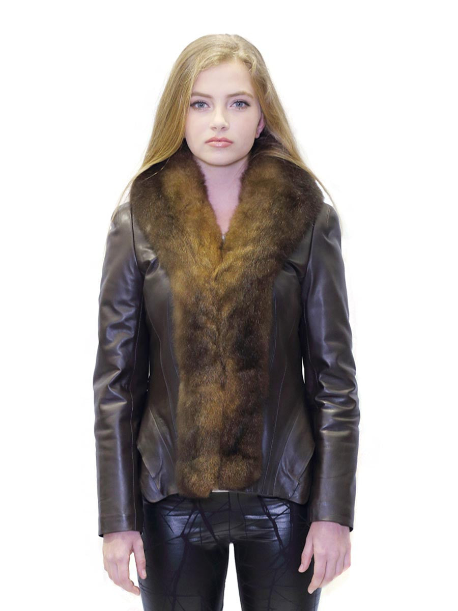 Karu Fur Trim Scallop Leather Jacket