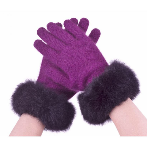 Fur Trim Merino Gloves