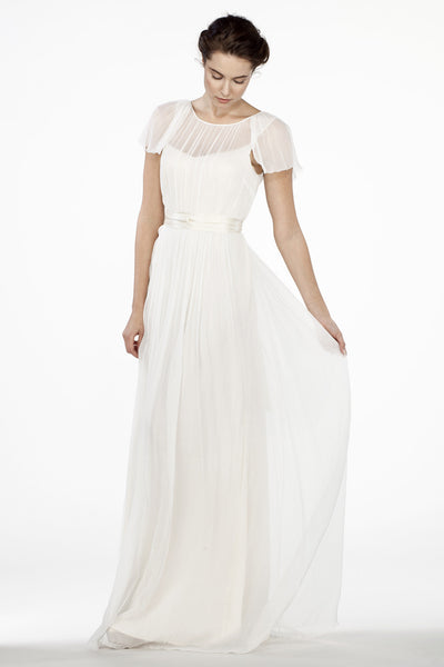 Ch6300 Ethereal Wedding Dress With Flutter Sleeves