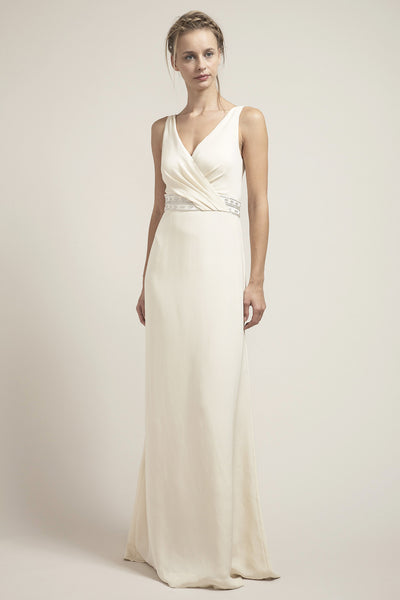 CR6673- Glamorous V-Neck Wedding Dress With Beaded Waistband