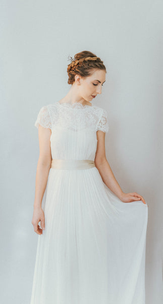 ON6190 Ethereal Lace Detachable Trained Wedding Dress