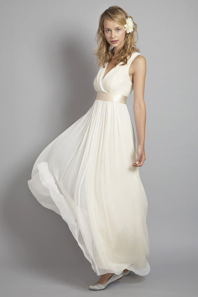 DU6556 V-Neck Elegant Silk Chiffon Shift Dress