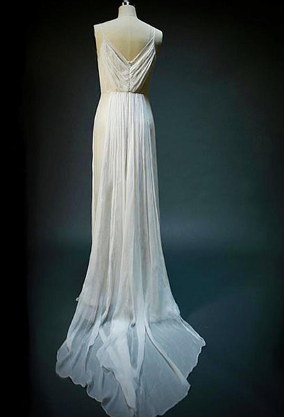 On6150 Ethereal Sheer V Neck Trained Wedding Dress