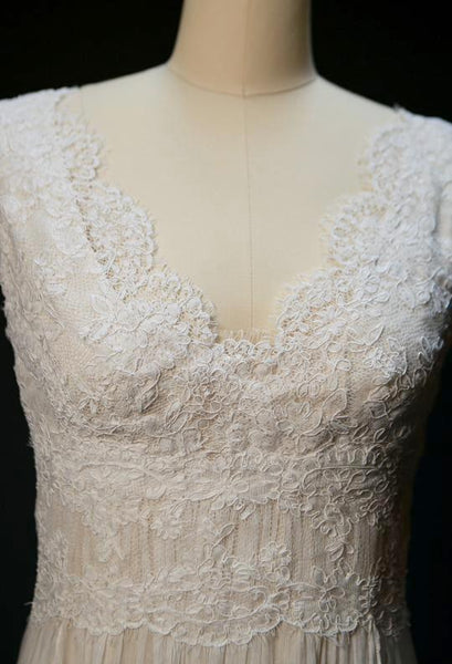 ON6160 Airy Handkerchief Skirt Lace Wedding Dress