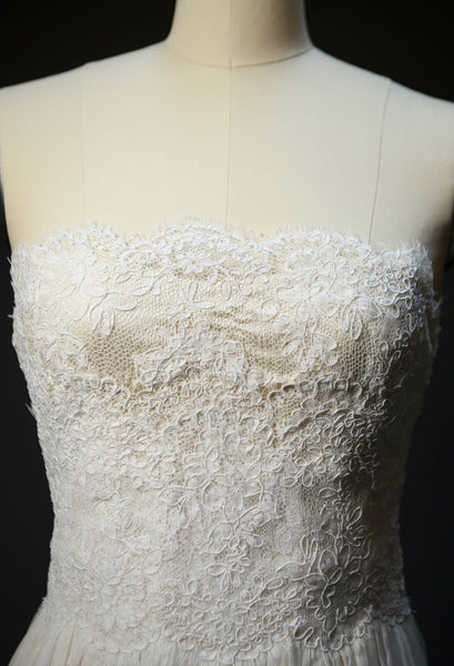 ON6180 Ethereal Lace Strapless Trained Wedding Dress