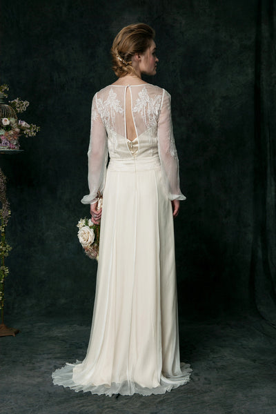 VT6310 Long Sleeve Edwardian Inspired Wedding Dress