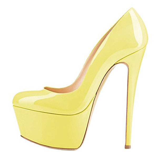 Patent Leather Rounde Toe Platform Yellow Stiletto High Heels Pumps