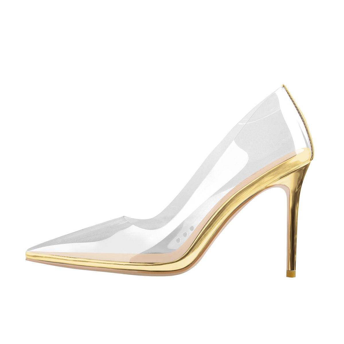 Transparent Pointed Toe Slip on Gold High Heel Stiletto Pumps