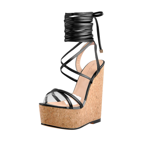 Lace up Wood Platform Wedge Open Toe Sandals