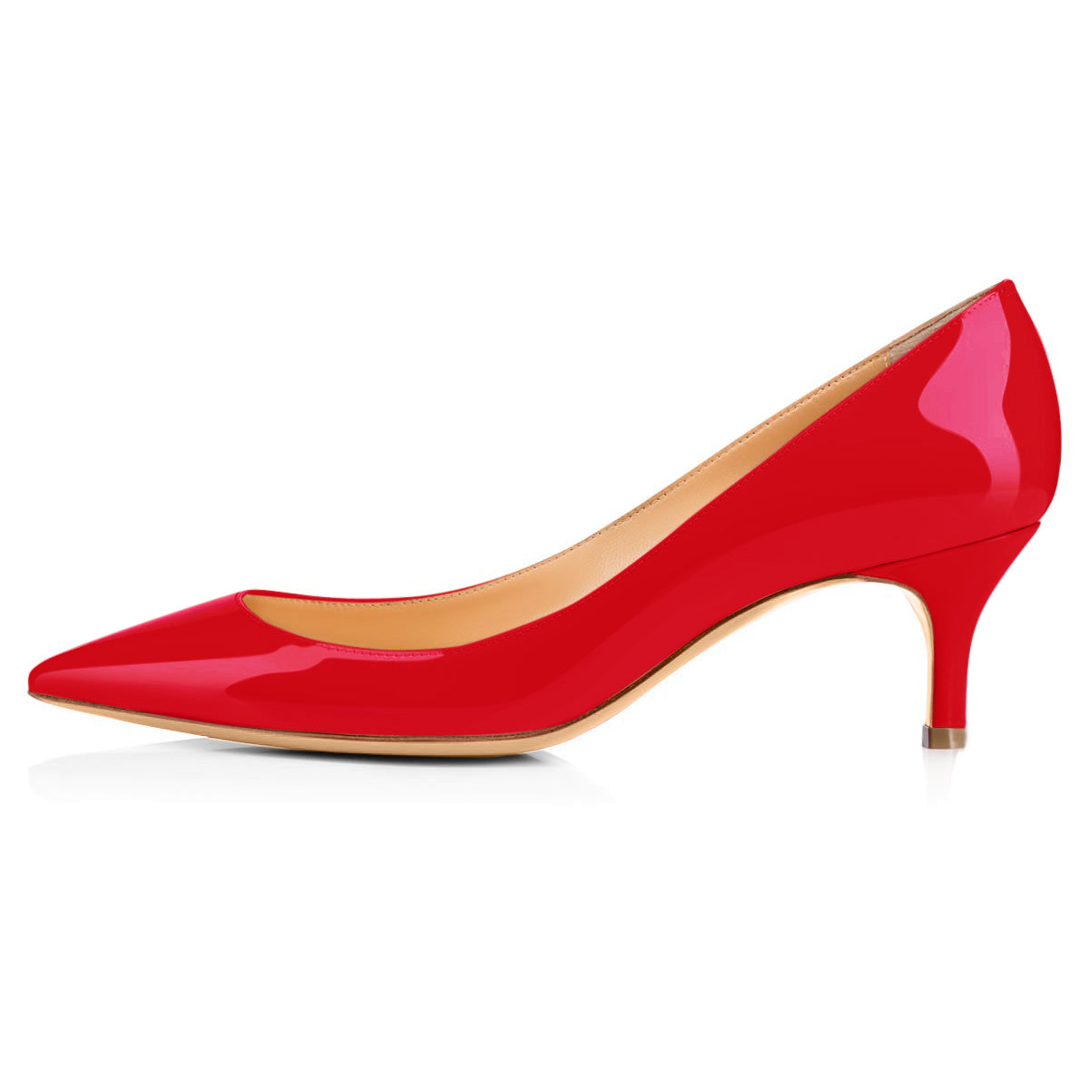 Red Pointed Toe Slip On 2.5inches(6.5CM) High Heel Pumps