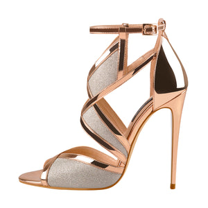 Champagne Gold Metallic Luster Glitter Cut Out Sandals