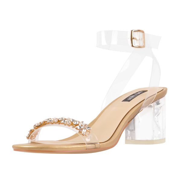 Ankle Clear Strap Rhinestone Transparent Perspex Chunky Heels Sandals