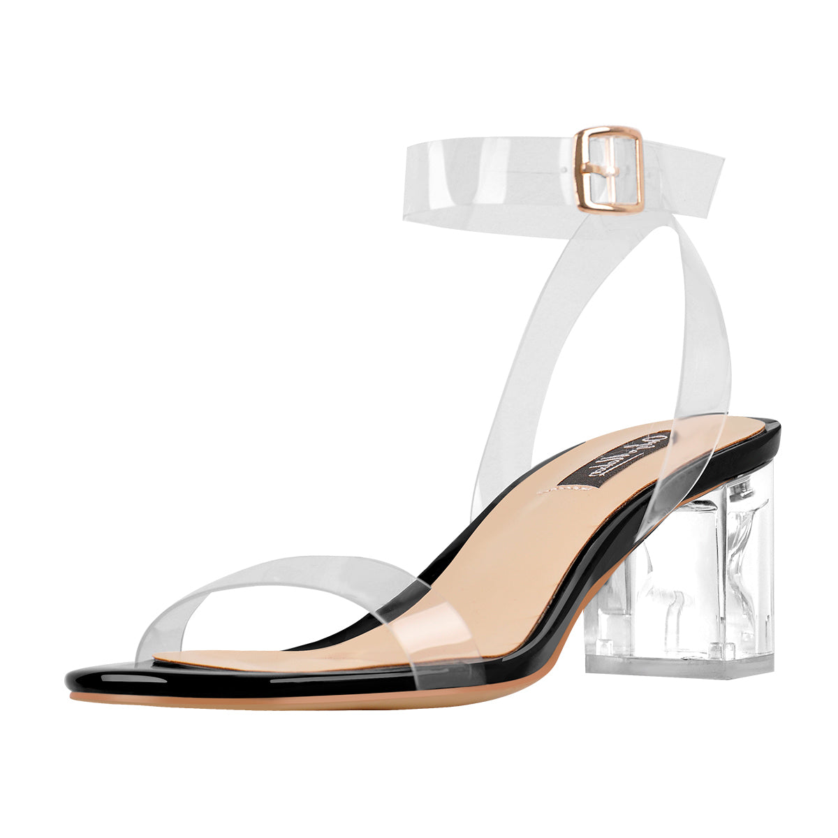 Ankle Clear Strap Transparent Perspex Chunky Heels Sandals