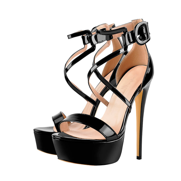 Black Metallic Luster Platform Cross-tied High Heel 16CM Stiletto Sandals