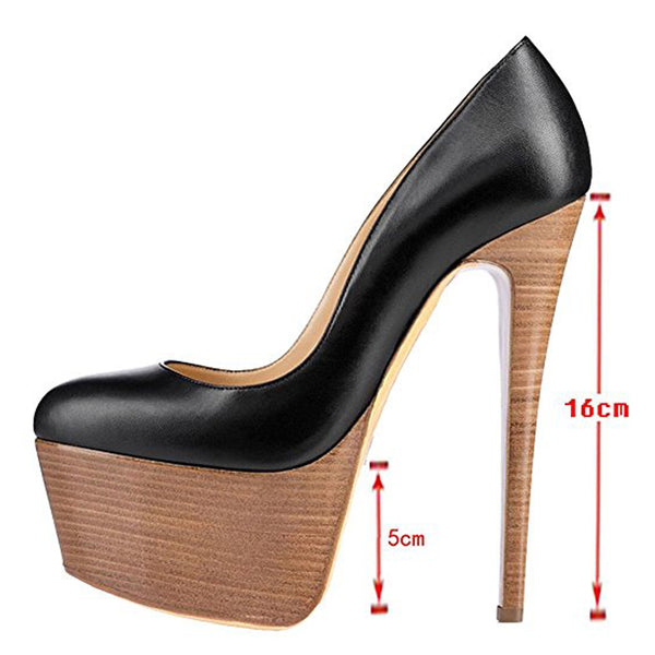 Rounde Toe Platform Wood Grain Stiletto High Heels Pumps