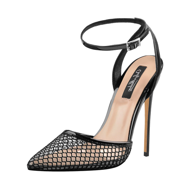 PVC Strappy Cover Mesh Hollow High Heels Sandals