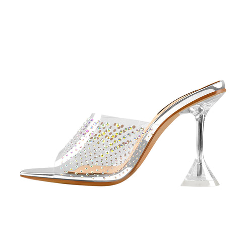 Open Toe Colorful Rhinestones Transparent Tapered Heel Sandals Mules