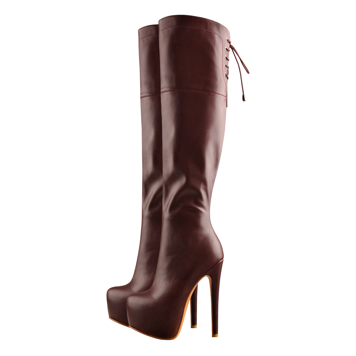 Faux Leather Round Toe Platform High Heels Over The Knee Boots