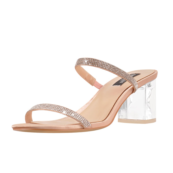 Rhinestone Strap Lucite Clear Block Chunky Perspex High Heels Sandals