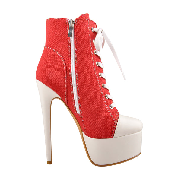 Canvas High Heel Sneaker Lace Up Platform Ankle Boots