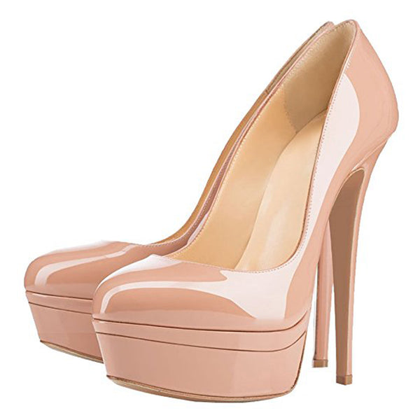 Baby Pink Patent Leather Round Toe Double Platform High Heel Pumps
