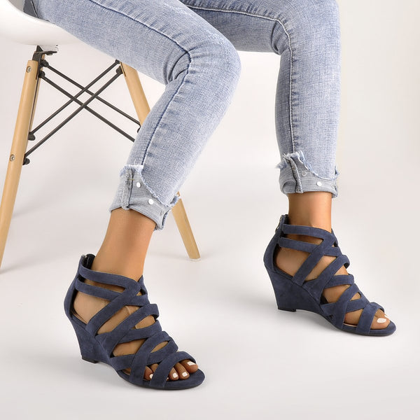 Blue Gladiator Cut Out Peep Toe Wedge Sandals