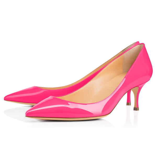 Rose Red Pointed Toe Slip On 2.5inches(6.5CM) High Heel Pumps