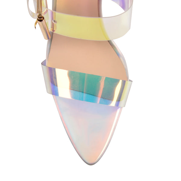 Holographic Triple Clear Straps High Heels Sandals