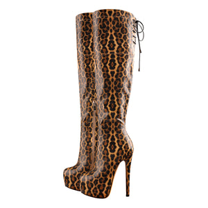 Leopard Snake Scale Round Toe Platform High Heels Over The Knee Boots