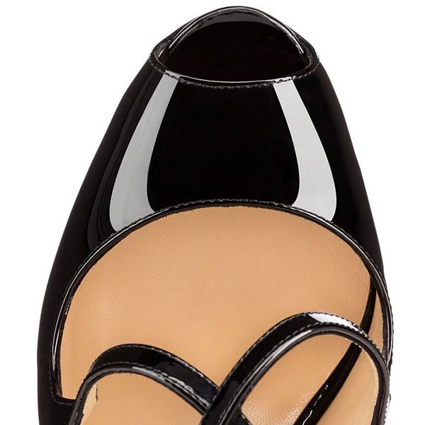 Criss Cross Peep Toe Platform Black High Heels Sandals