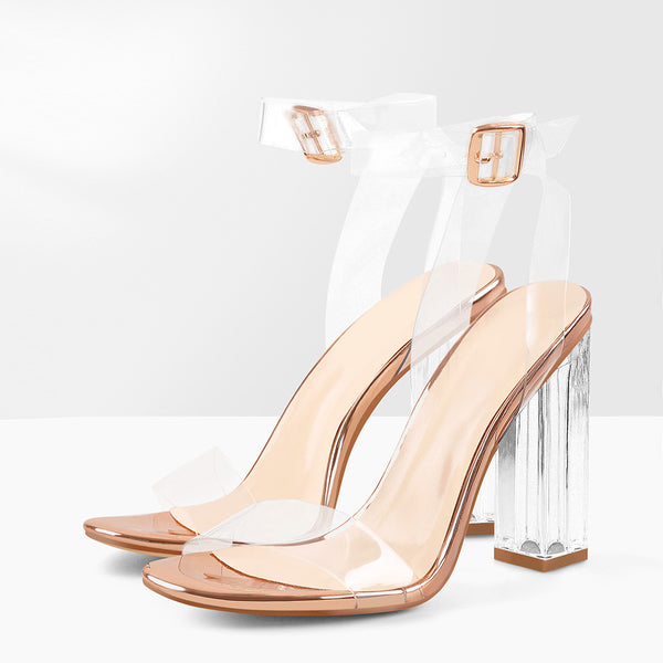 Clear Ankle Strap Perspex Chunky Rose Gold High Heel Sandals