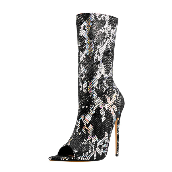 Open Toe Symphony Snake Stiletto High Heels Zipper Ankle Booties
