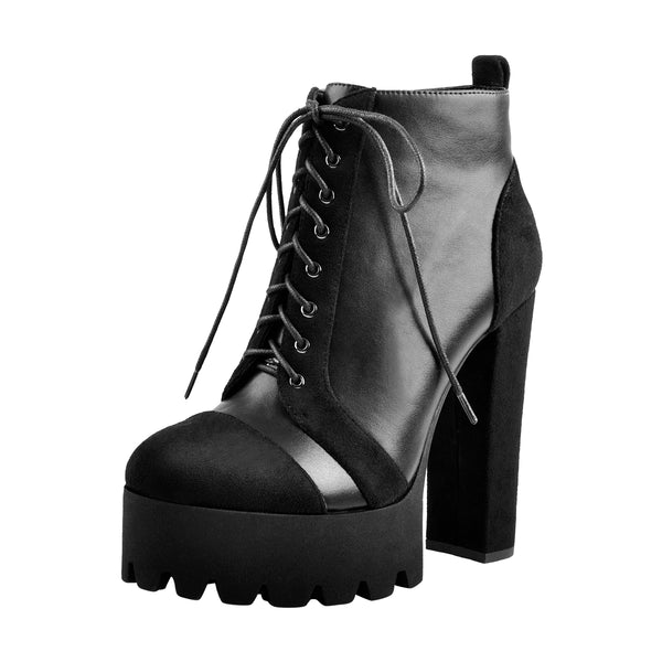 Round Toe Platform Lace Up Suede Split Joint Ankle Boots