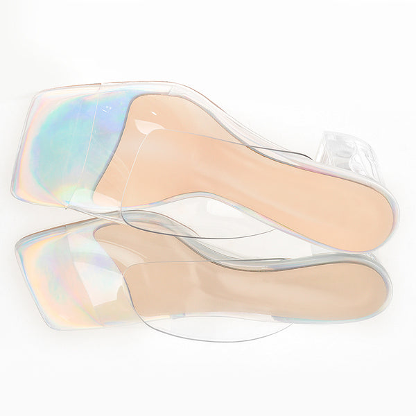 Holographic Transparent Chunky Heel Square Toe Sandals Mules