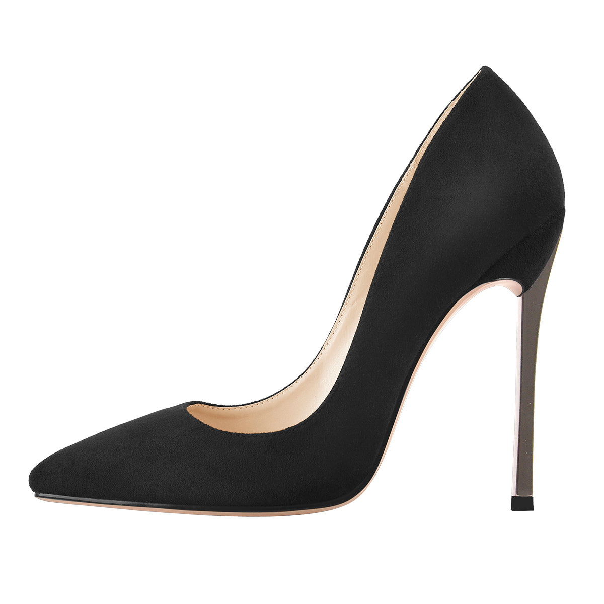 Black Suede Metal Heels Pointed Toe High Heel Pumps
