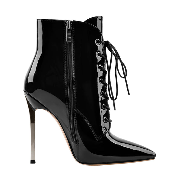 Black Pointed Toe Metal high Heel Zipper Ankle Boots