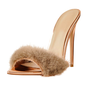 12cm Rose Gold Feather High Heel Stilettos Sandals
