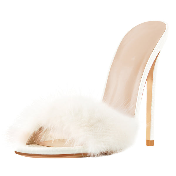 White Open Toe Feather High Heel Stilettos Sandals