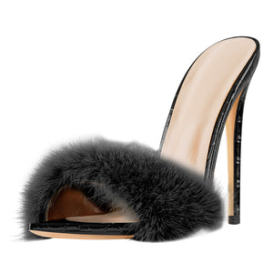 Black Feather High Heel Stilettos Sandals