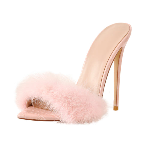Pink Feather Open Toe High Heel Stilettos Sandals